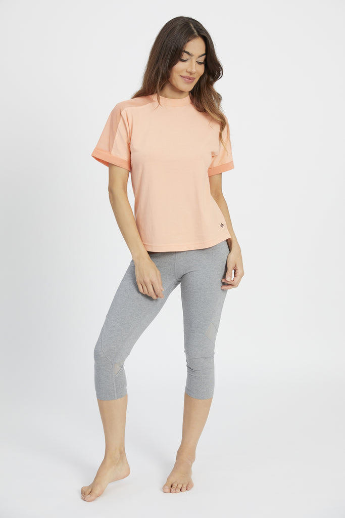 ADRIT MESH PANEL TEE POP PEACH