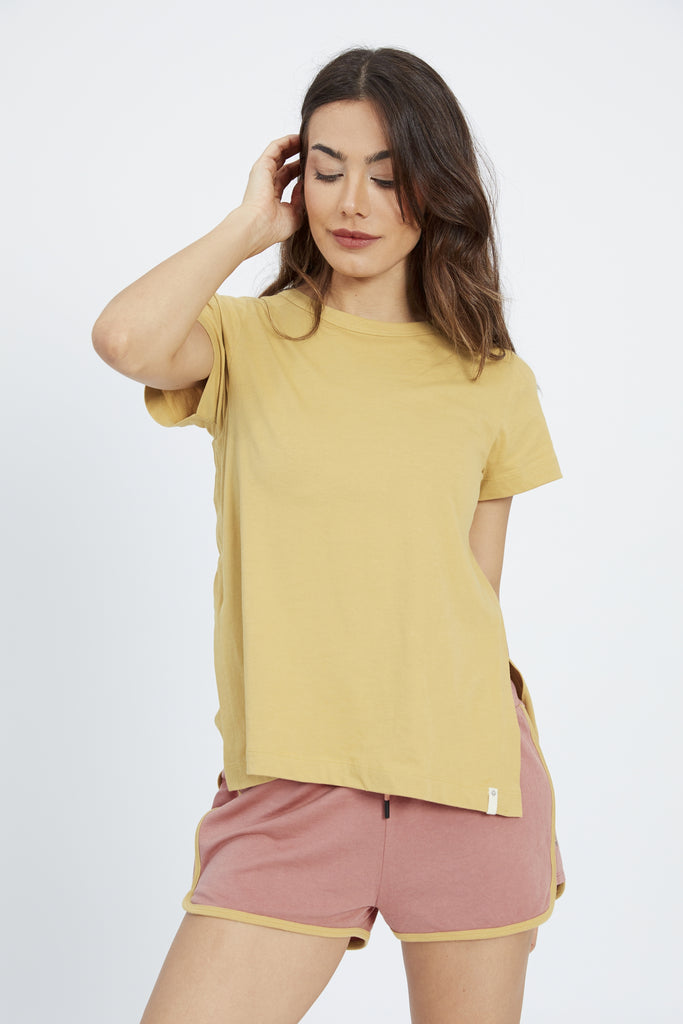 ANDOT CREW NECK TEE TAN