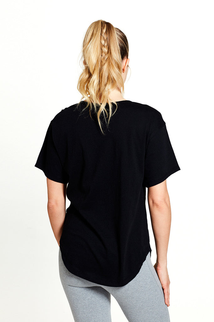 Women's activity inspired organic Carrie Tee in Black (front) | SATVA
