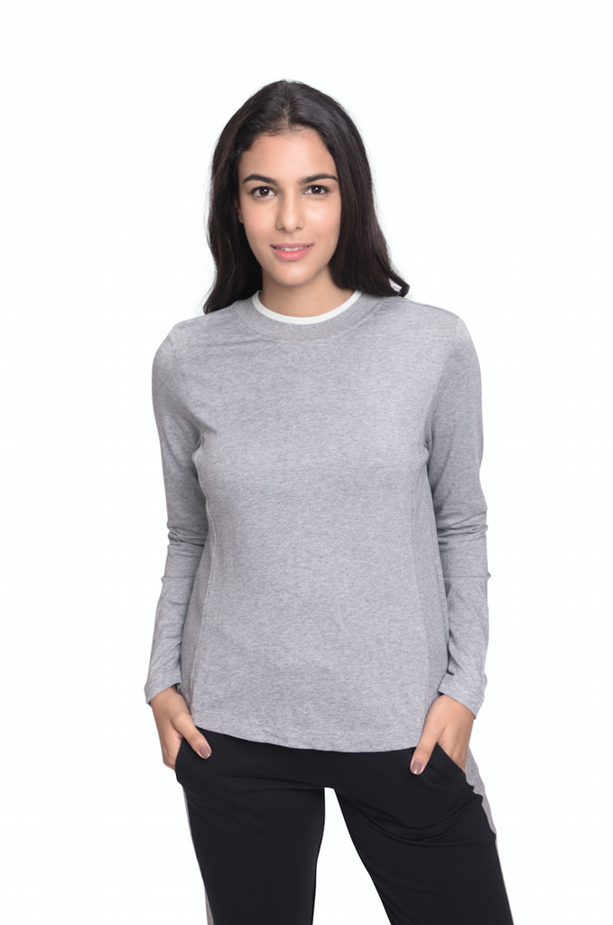 DANA LONG SLEEVE TOP HEATHER GREY