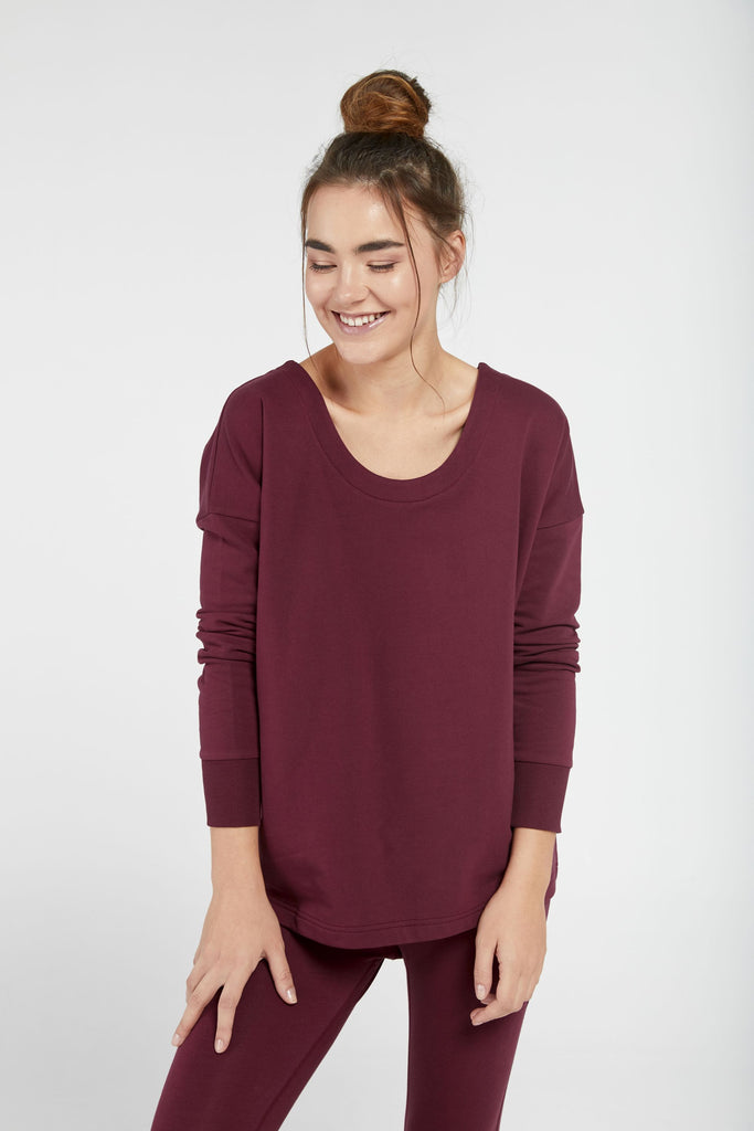 GRATITUDE CROSS BACK SWEATSHIRT IN DAMSON