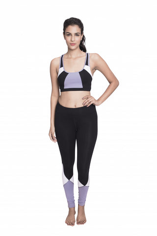 KOSHA BRA TOP BLACK WHITE/PURPLE