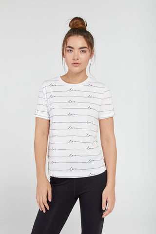 LOVE SCROLL TEE IN WHITE