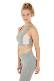 Nanda Yoga Bra in Heather Grey/Rose