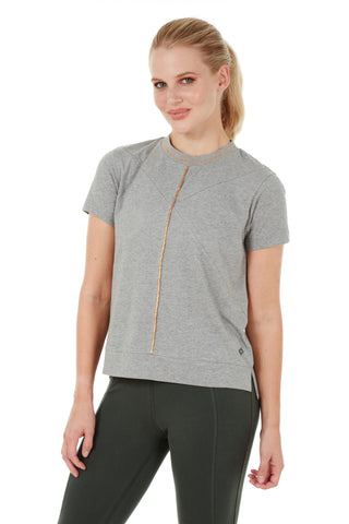 CARNELIAN HALF SLEEVE TEE HEATHER GREY