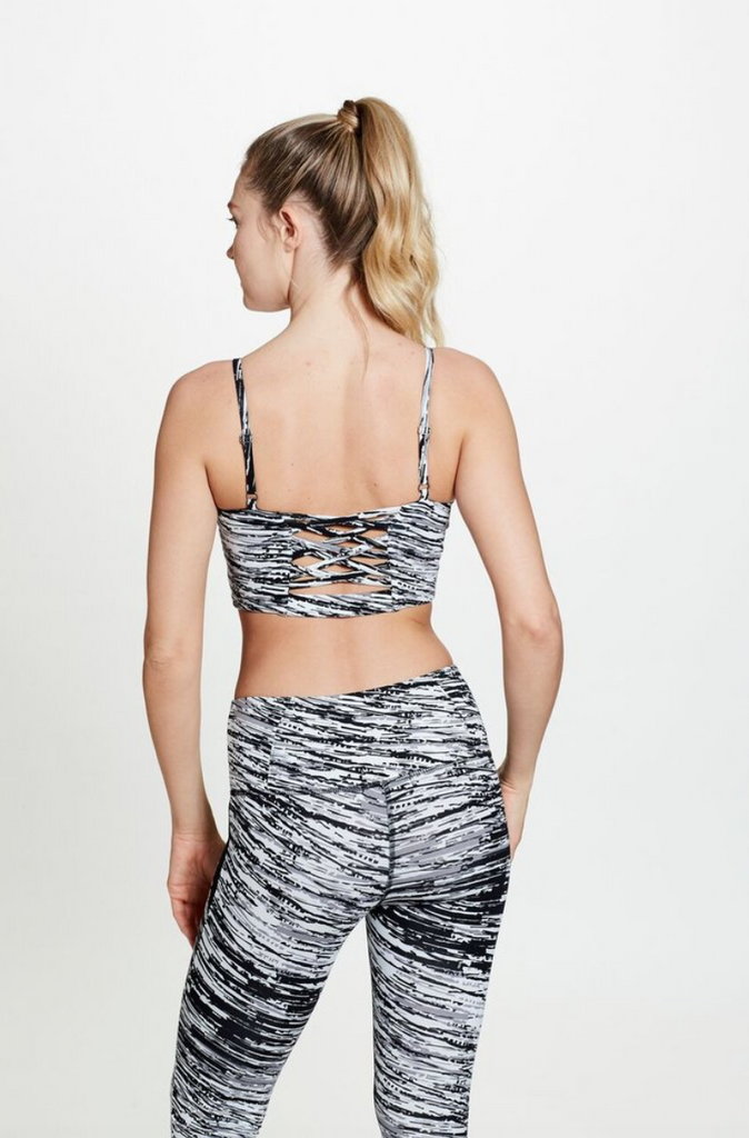 women's organic cotton yoga inspired bani bralette in scratch print (front) | SATVA