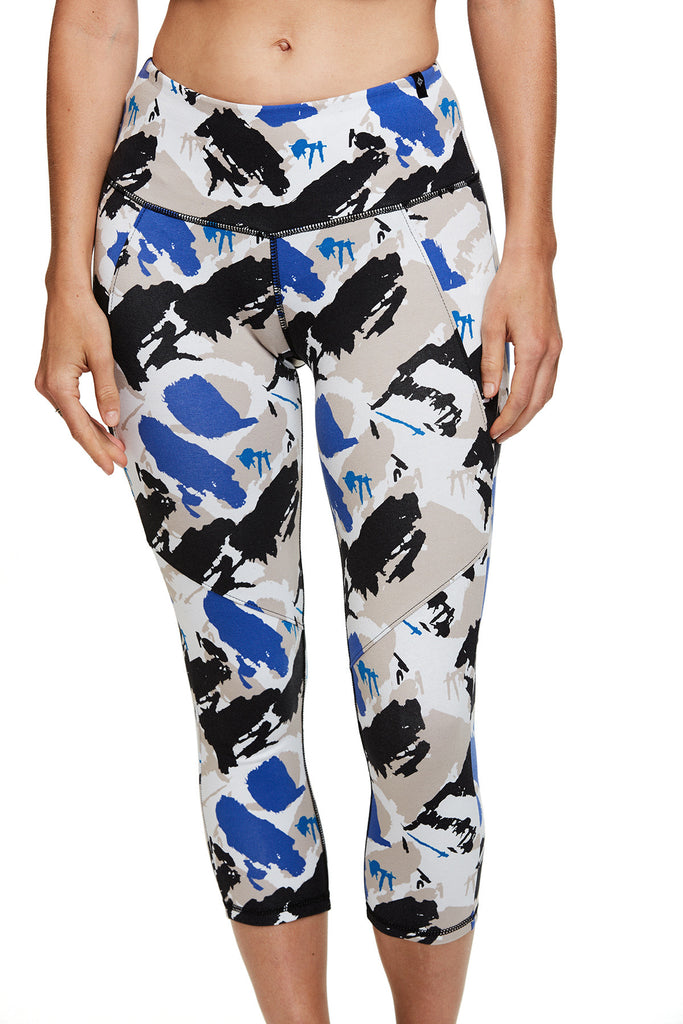 Women's Yoga and active Cassie Capri in Blue Paint Print | SATVA (front 2)