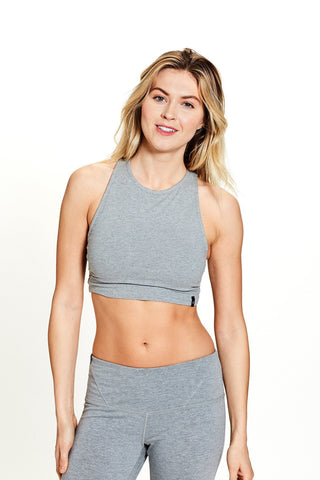 women's organic cotton yoga inspired dina bralette in gray (front) | SATVA