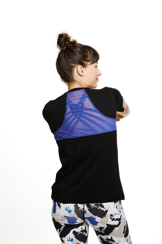 Yoga and active Gemma Racerback Tee in Black | SATVA (back)