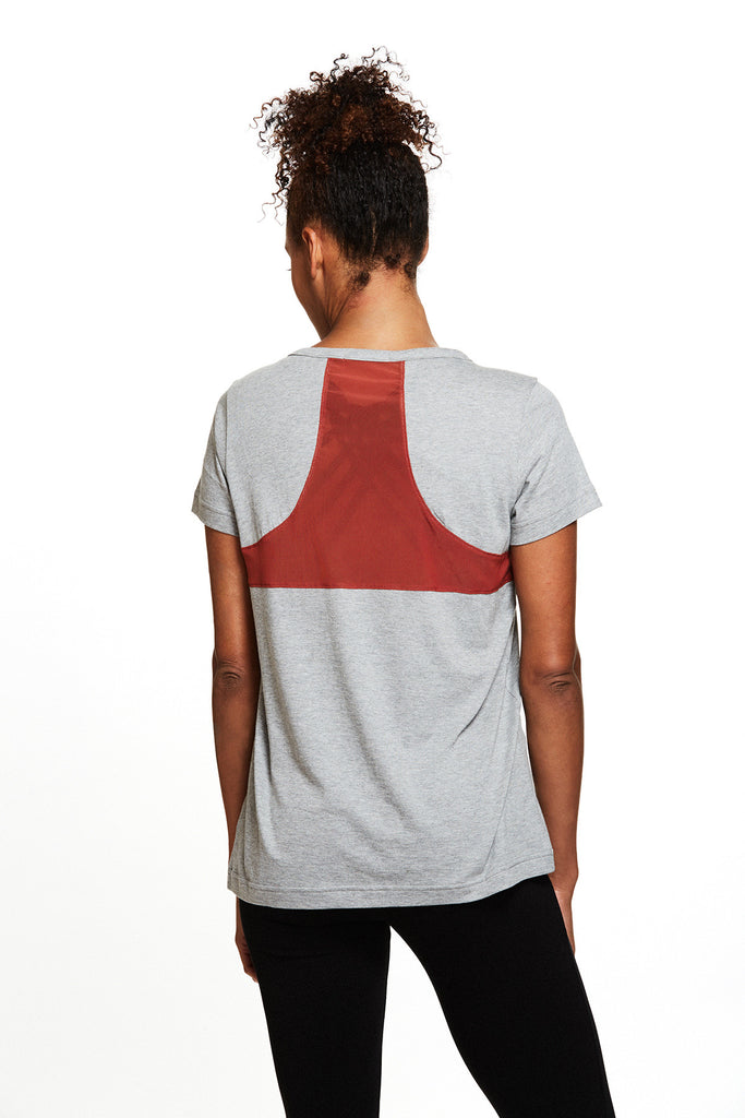 Yoga and active Gemma Racerback Tee in Heather Grey | SATVA (front)