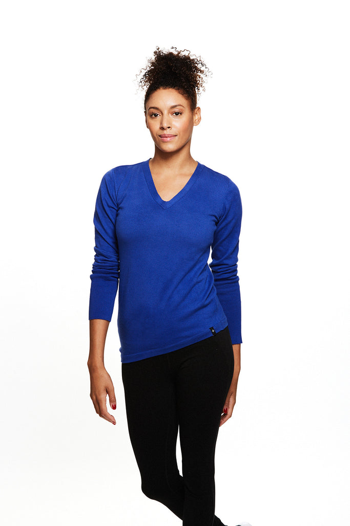Womens Yoga inspired Leah Sweater in Iris | SATVA (front)
