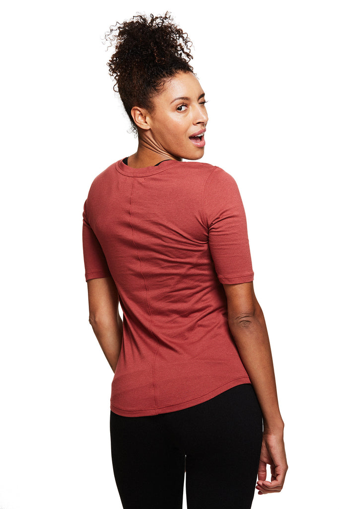 Women's Yoga Inspired Lia V Neck Tee in Ember | SATVA (front)