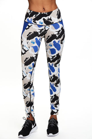 Yoga inspired Mantra Legging in Blue Paint Print | SATVA (front)