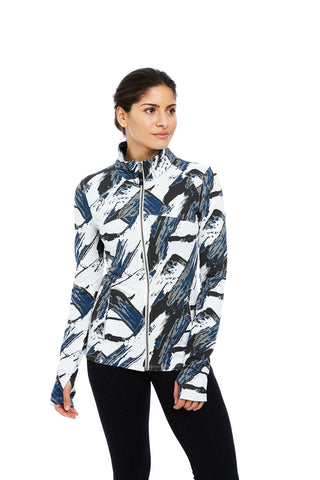 womens yoga lifestyle organic cotton maya jacket in gray brush print (front) | SATVA