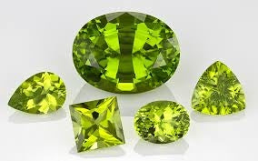 Color range of Peridot gemstones