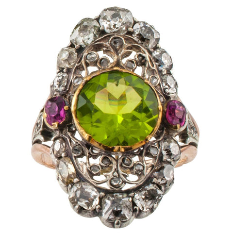 Georgian peridot ruby and diamond ring