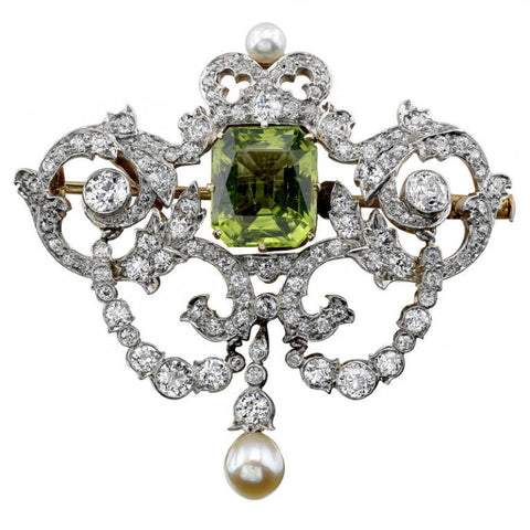Victorian Tiffany Peridot Diamond and Pearl Brooch