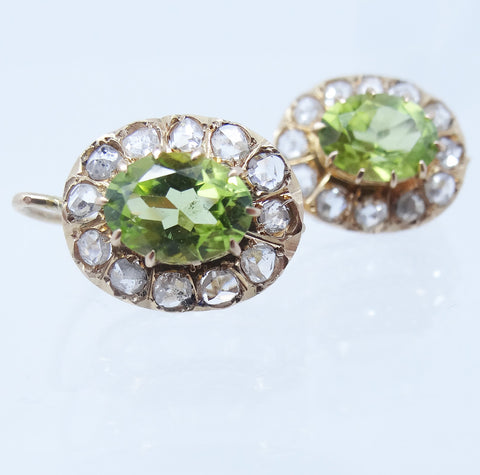 Victorian Peridot and diamond earrings