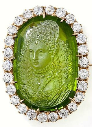 Carved Peridot and Diamond Ring