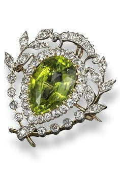 Antique Peridot and Diamond Brooch