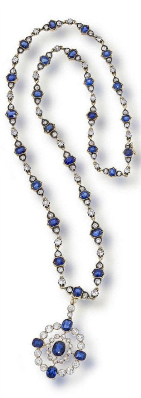 antique sapphire and diamond necklace