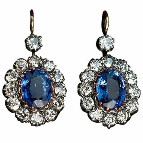 antique russian sapphire and diamond earrings