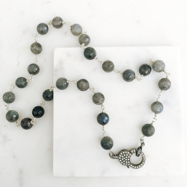 Labradorite Chain with Sparkling CZ Clasp