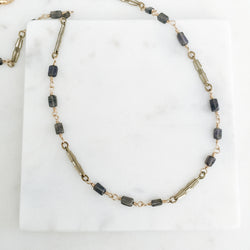 Antique Watch Chain Links with Iolite Gemstones Necklace