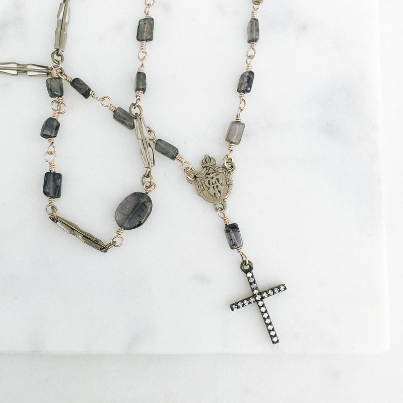 Antique Watch Chain Links with Iolite Rosary Necklace