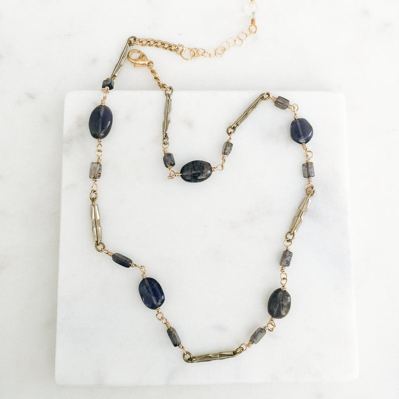 Antique Watch Chain Links with Oval Iolite Gemstones Necklace