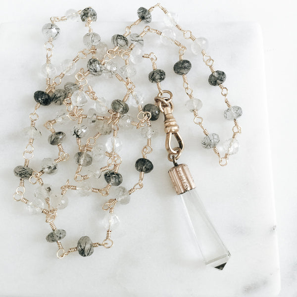 Watch Links and Quartz Gemstone Necklace