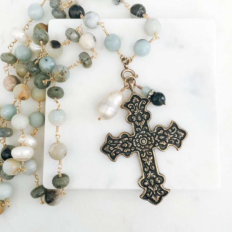 Amazonite Gemstone and Tudor Rose Cross Necklace