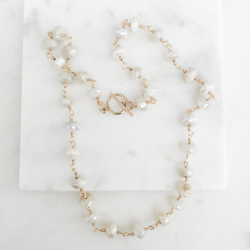 Natural White Sapphire Gemstone Necklace
