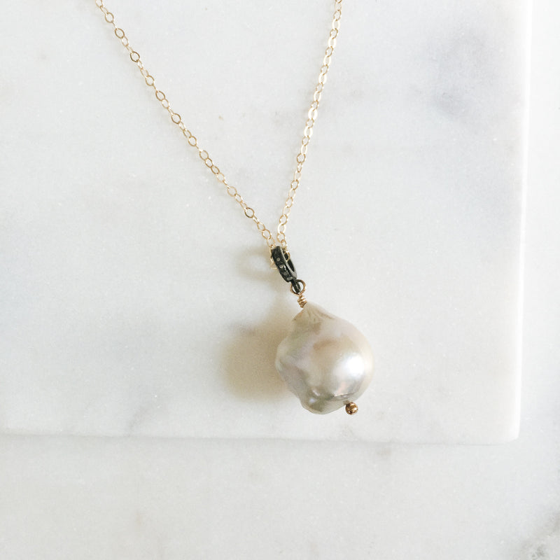Baroque Pearl and Diamond Necklace