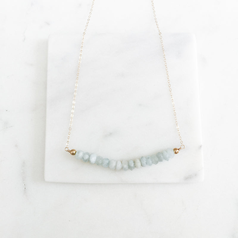 Aquamarine Large Gemstone Bar Necklace