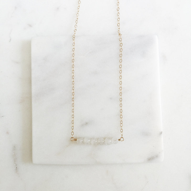 Moonstone and Gold Gemstone Bar Necklace