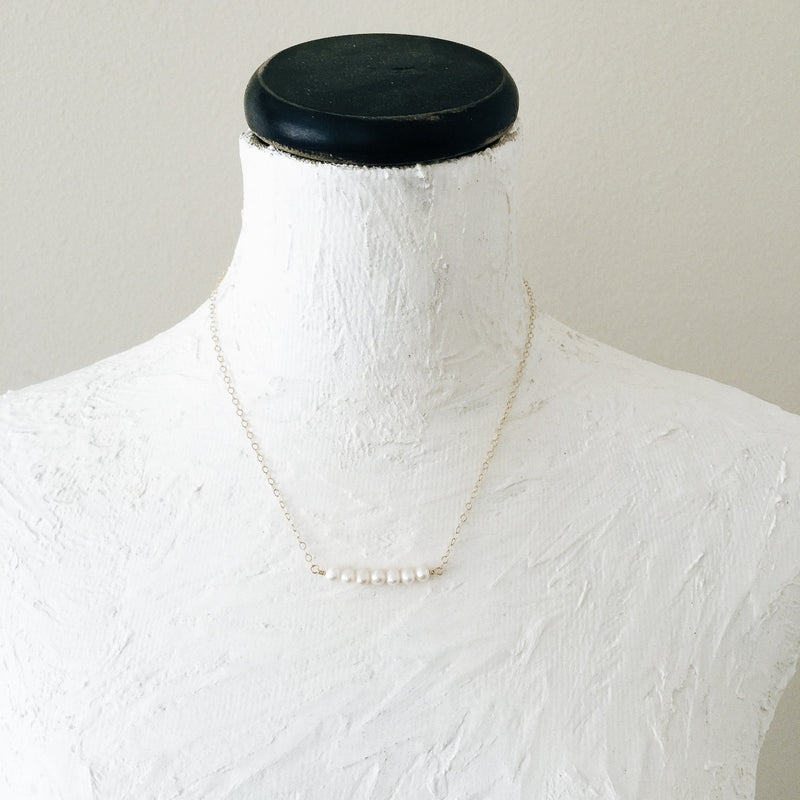 Freshwater Pearls Gold Bar Necklace