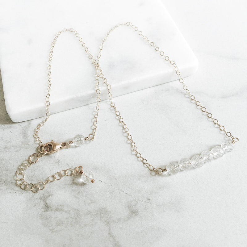 Clear Quartz and Gold Gemstone Bar Necklace