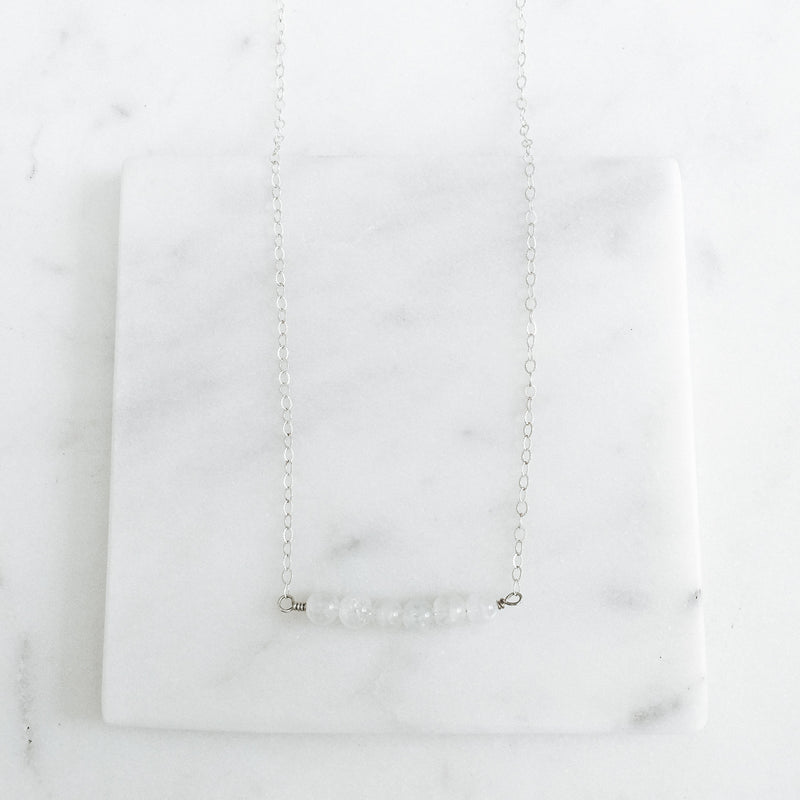 Moonstone and Sterling Silver Gemstone Bar Necklace