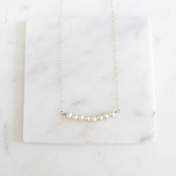 Freshwater Pearls Sterling Silver Bar Necklace
