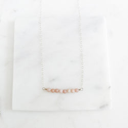 Pink Opal and Sterling Silver Gemstone Bar Necklace