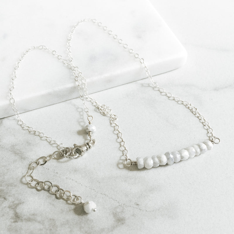 White Sapphire and Sterling Silver Gemstone Bar Necklace
