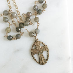 Celtic Cross and Labradorite Gemstone Necklace