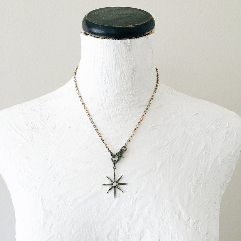Diamond Star and Antique Chain Necklace