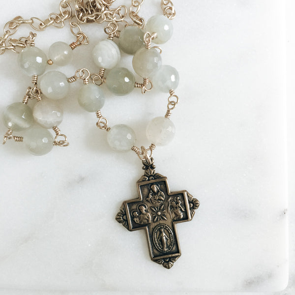 Four Way Cross Moonstone Necklace