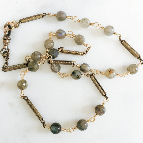 Antique Watch Chain Links with Labradorite Gemstones Necklace