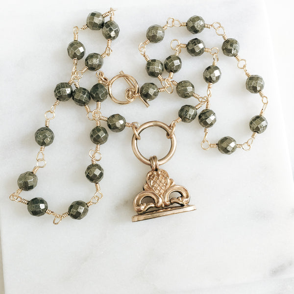 Antique Fob and Pyrite Necklace