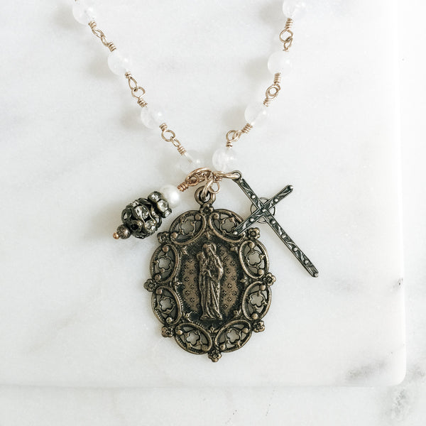 Madonna and Child Moonstone Necklace