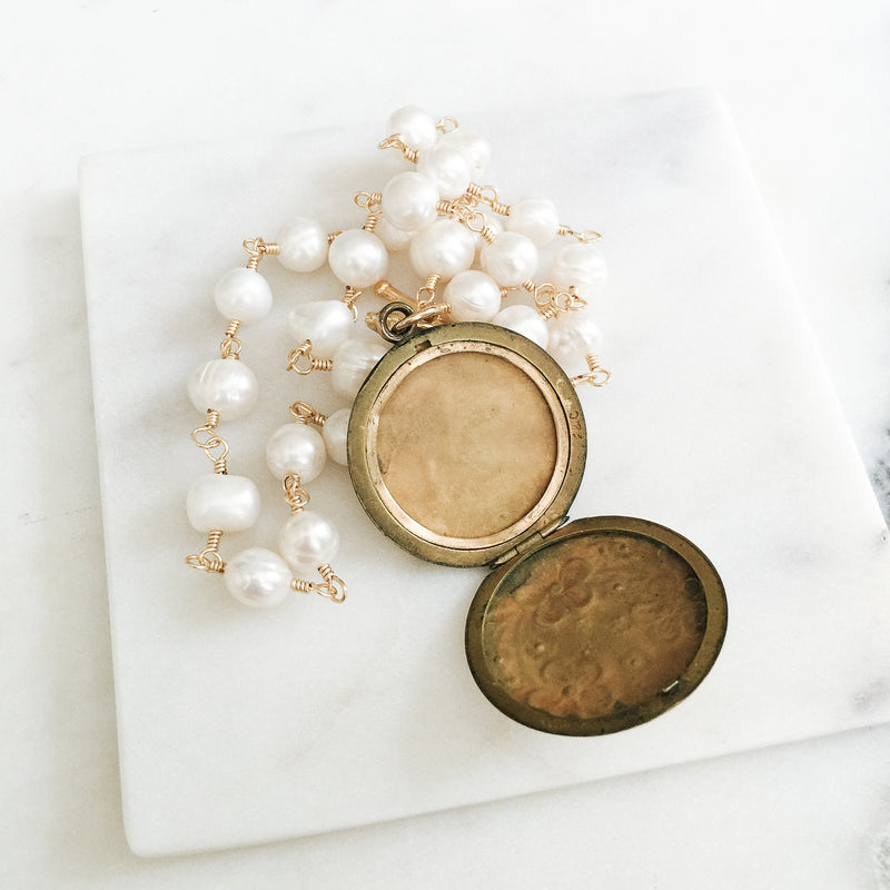 Flower Wreath and Freshwater Pearl Locket Necklace