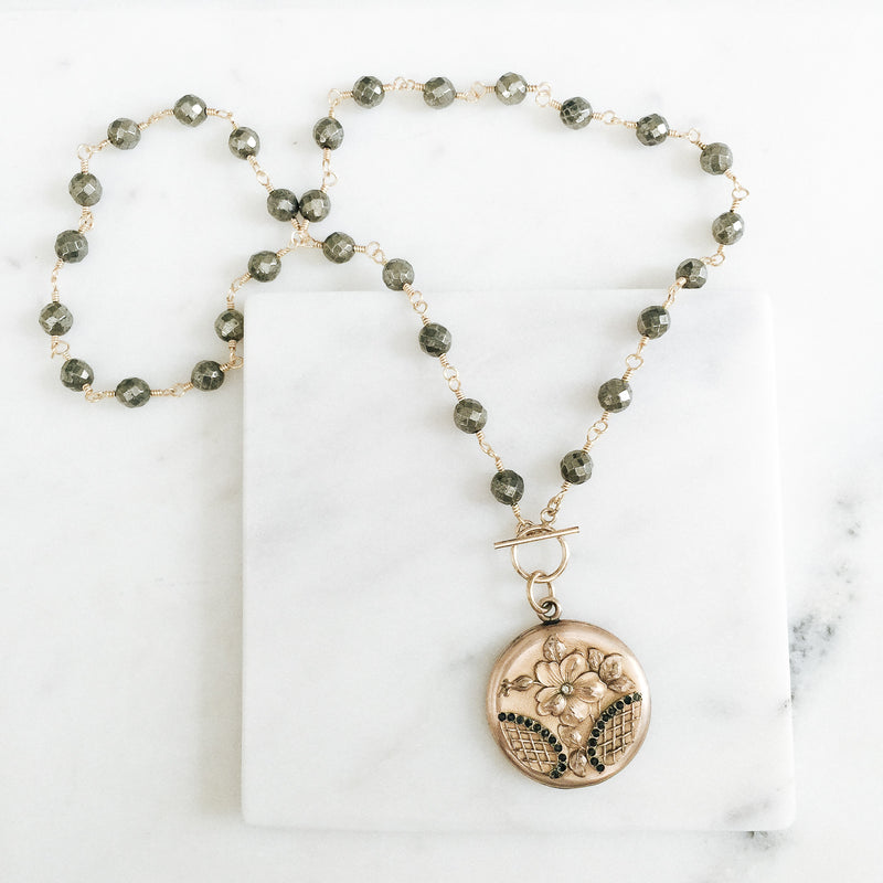 Floral Basket Locket and Pyrite Necklace
